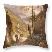 Overlooking Ramsau Bei Berchtesgaden Throw Pillow