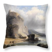 overlooking the castle ruins Devin Throw Pillow