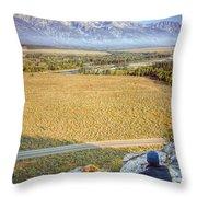 Overlooking The Grand Tetons Jackson Hole Throw Pillow