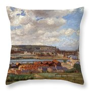 Overlooking The Town Of Dieppe Throw Pillow
