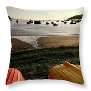 Overturned Boats On Shore Of Harbor Throw Pillow