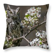Owl Among The Blossoms Throw Pillow