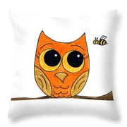 Owl And Bee Throw Pillow