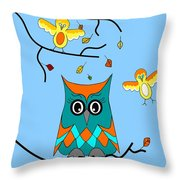 Owl And Birds - Whimsical Throw Pillow