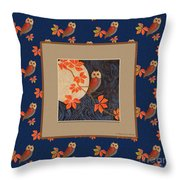Owl And Moon On Midnight Blue Throw Pillow