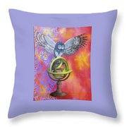 Owl And Star Map Throw Pillow