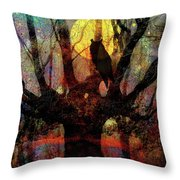 Owl And Willow Tree Throw Pillow