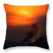 Owl At Sunset Throw Pillow