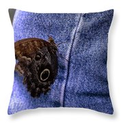 Owl Butterfly On Jeans Throw Pillow