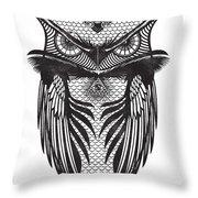 Owl Illustration Throw Pillow