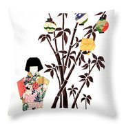 Owl In Bamboo By Mary Ellen Palmeri Throw Pillow