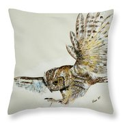 Owl In Flight Throw Pillow