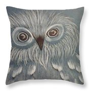 Owl In The Blue Throw Pillow by Ginny Youngblood