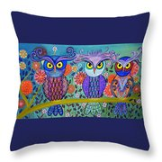 Owl In The Family Throw Pillow