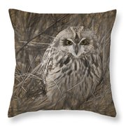 Owl In The Woods Throw Pillow