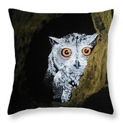 Owl In Tree Throw Pillow