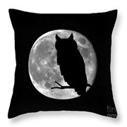 Owl Moon Throw Pillow