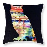 Owl On Black Throw Pillow