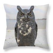 Owl On The Beach Throw Pillow
