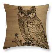 Owl Pyrography Throw Pillow