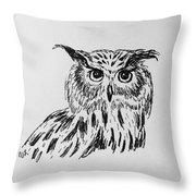 Owl Study 2 Throw Pillow