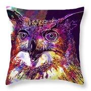 Owl The Female Eagle Owl Bird  Throw Pillow