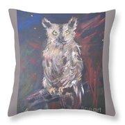 Owl Watchers Throw Pillow by Paula Marsh