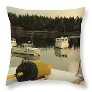 Owls Head Boats In The Snow Throw Pillow