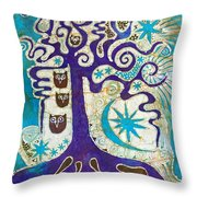Owls In A Summer Tree Throw Pillow