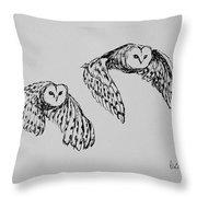 Owls In Flight Throw Pillow