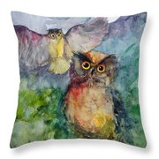 Owls In The Night... Throw Pillow