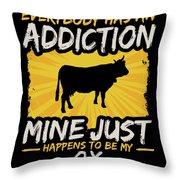 Ox Addiction Funny Farm Animal Lover Throw Pillow