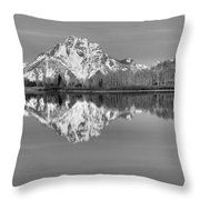 Oxbow Bend Morning Black And White Throw Pillow