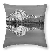 Oxbow Bend Panorama Black And White Throw Pillow
