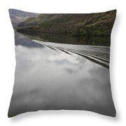 Oxbow Reservoir Wake Throw Pillow