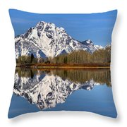 Oxbow Snake River Reflections Throw Pillow