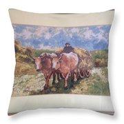 Oxcart After Nicolae Grigorescu Throw Pillow