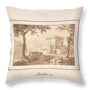 Oxcart Approaching A Fortified Building Throw Pillow
