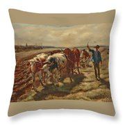 Oxen Plowing Throw Pillow
