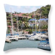 Oyster Bay Marina Throw Pillow