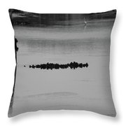 Oyster Bed Gator Throw Pillow
