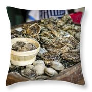 Oysters At The Market Throw Pillow