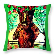 Oz Grumpy Apple Tree Throw Pillow by Jo-Ann Hayden