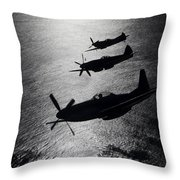 P-51 Cavalier Mustang With Supermarine Throw Pillow by Daniel Karlsson
