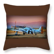 P-51d Mustang 'dakota Kid II. The Long Island Kid' And Casey Odegaard Throw Pillow