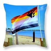 P Town Bear Flag Throw Pillow