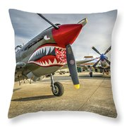 P40 Warhawk And P51d Mustang On The Ramp Throw Pillow