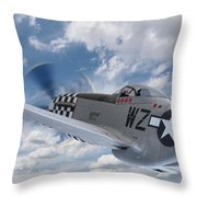 P51 In The Clouds Throw Pillow