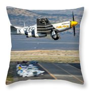 P51 Mustang Little Horse Gear Coming Up Friday At Reno Air Races 16x9 Aspect Signature Edition Throw Pillow