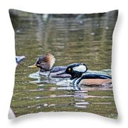 Pa And Ma Hooded Mergansers Throw Pillow